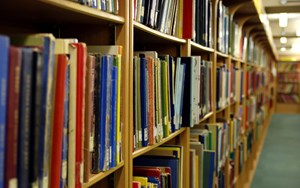 library books on a library shelf